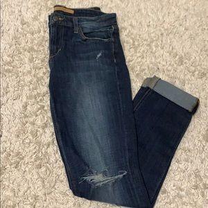 JOES JEANS: super comfy dark wash distressed jeans